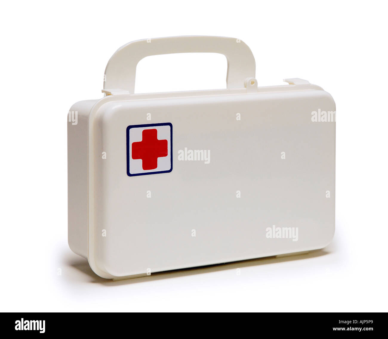 FIRST AID KIT BOX ON WHITE BACKGROUND - Stock Image