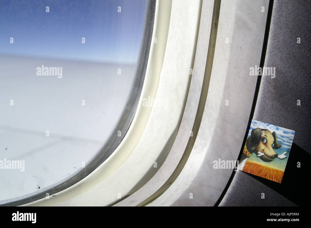 Smiling dog flying high altitude in plane near airplane window above white cloud under blue sky - Stock Image