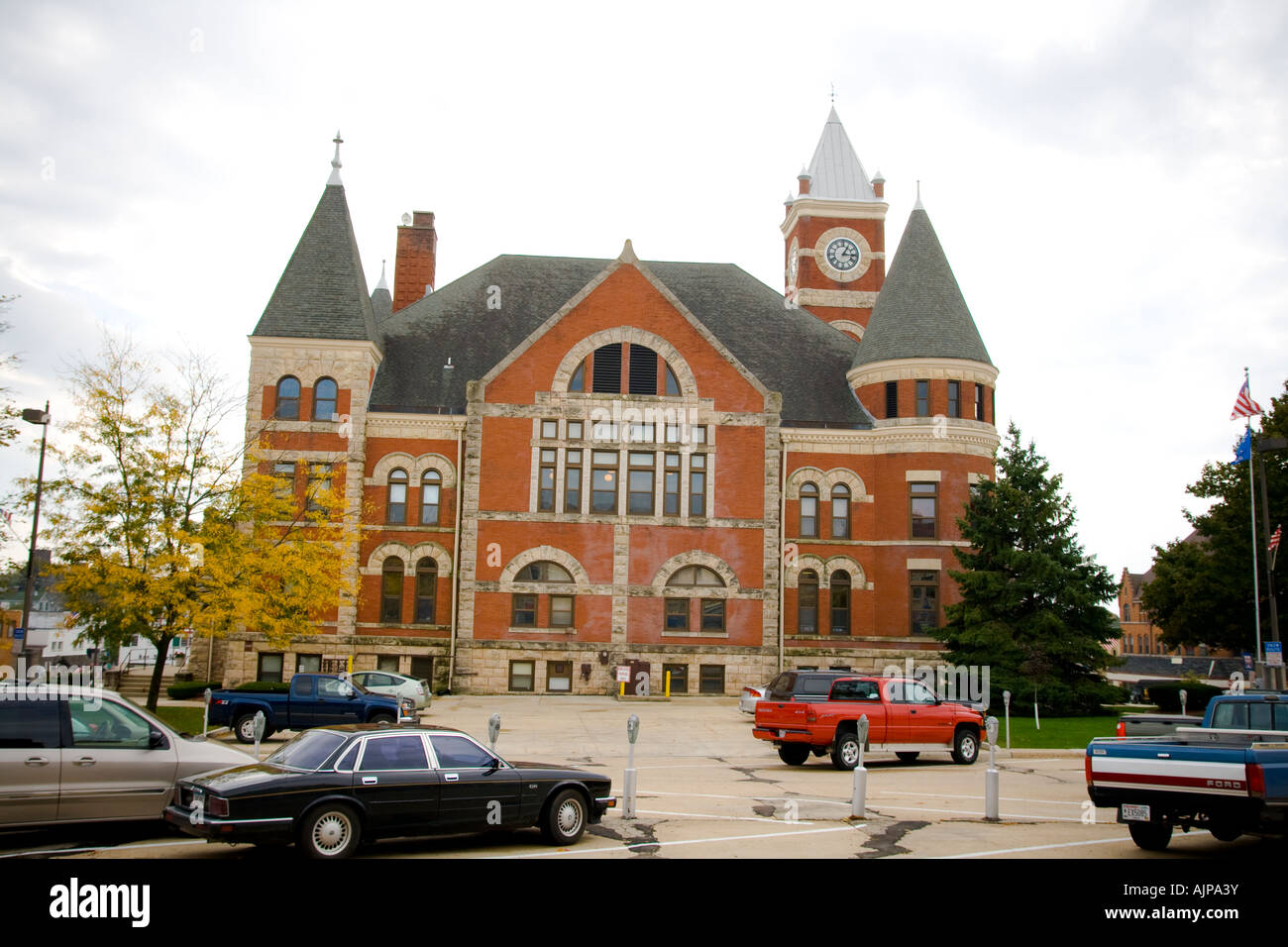Court house city hall in the center of the town Monroe Wisconsin USA Stock Photo