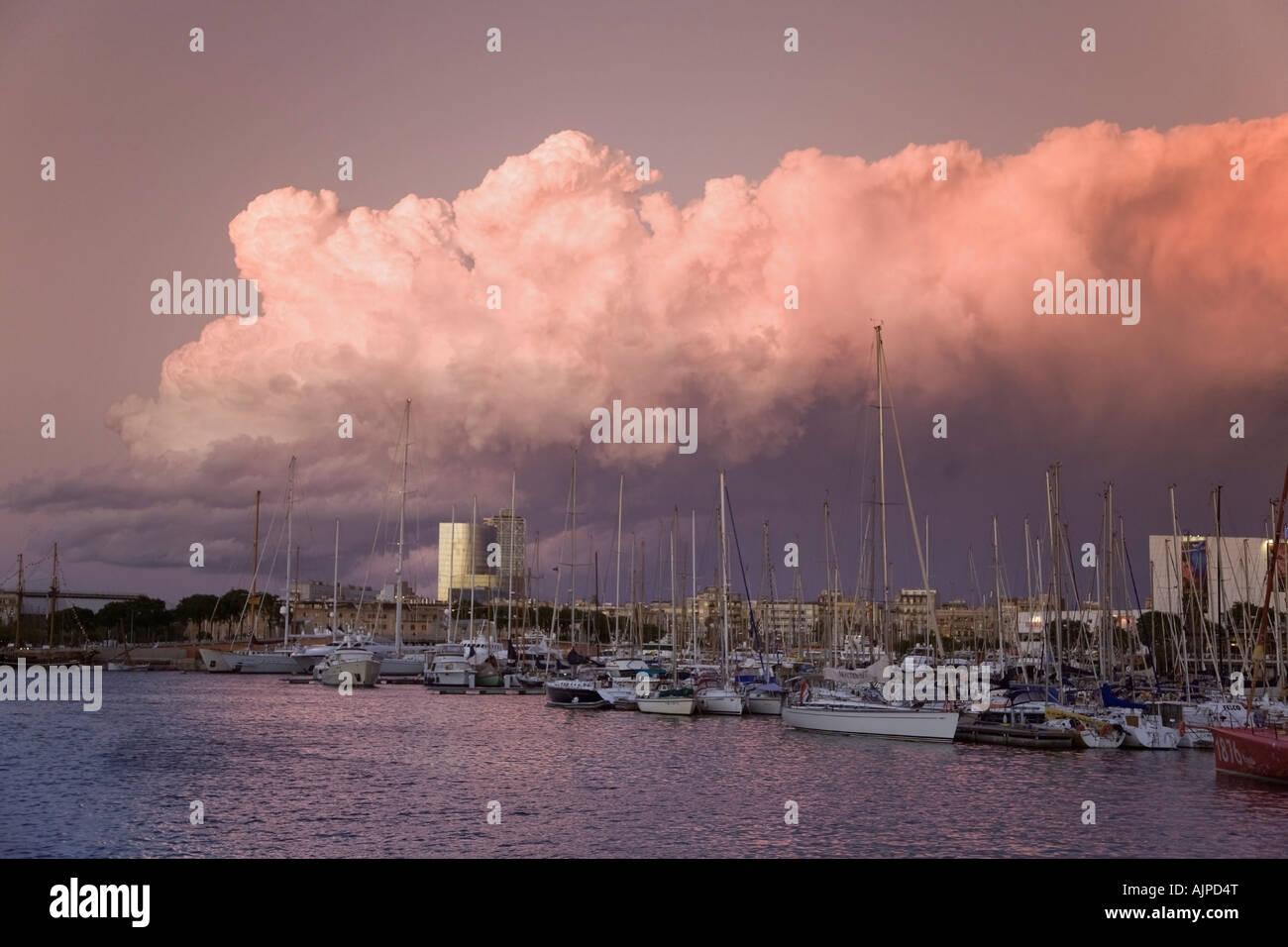 Barcelona Port Vell sunset Stock Photo