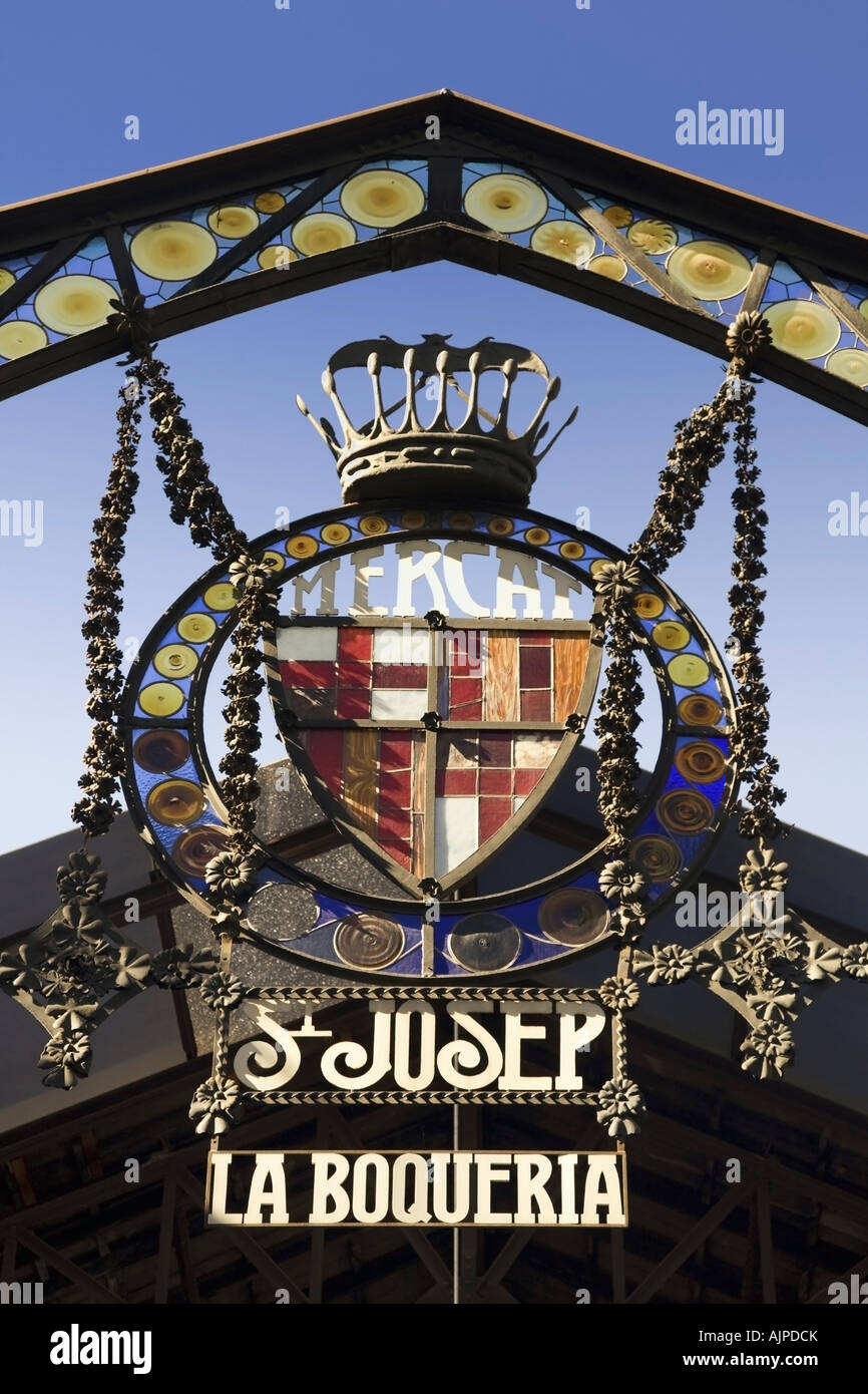 Barcelona Ramblas Mercat de Sant Josep La Boqueria market Entrance sign Stock Photo