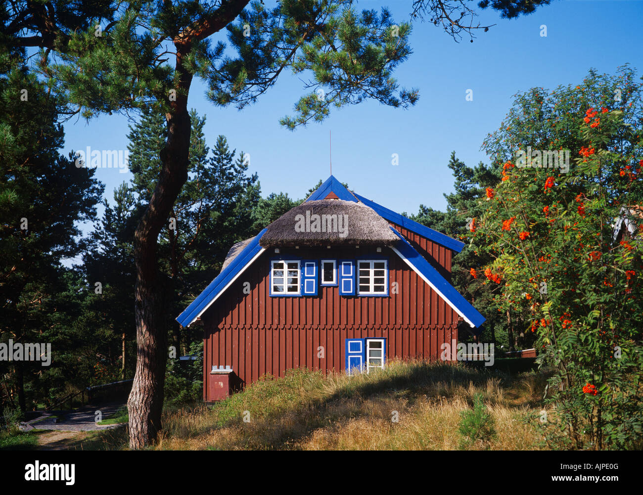 Summer cottage (1930-32) of nobel prize winner Thomas Mann (Nida, Curonian Spit, Lithuania). Today its the Thomas - Stock Image