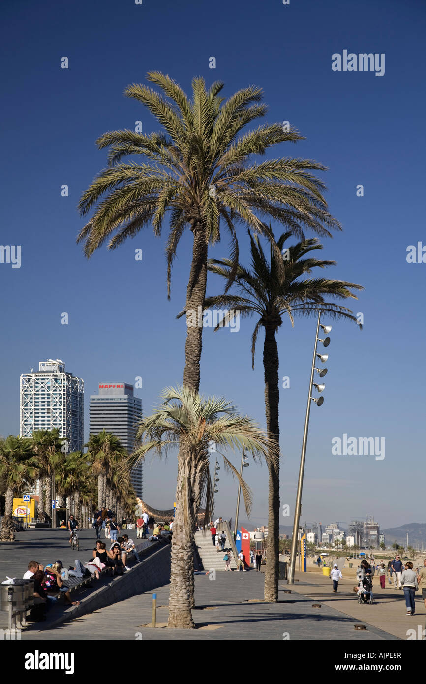 Barcelona beach Platja de la Barceloneta promenade - Stock Image