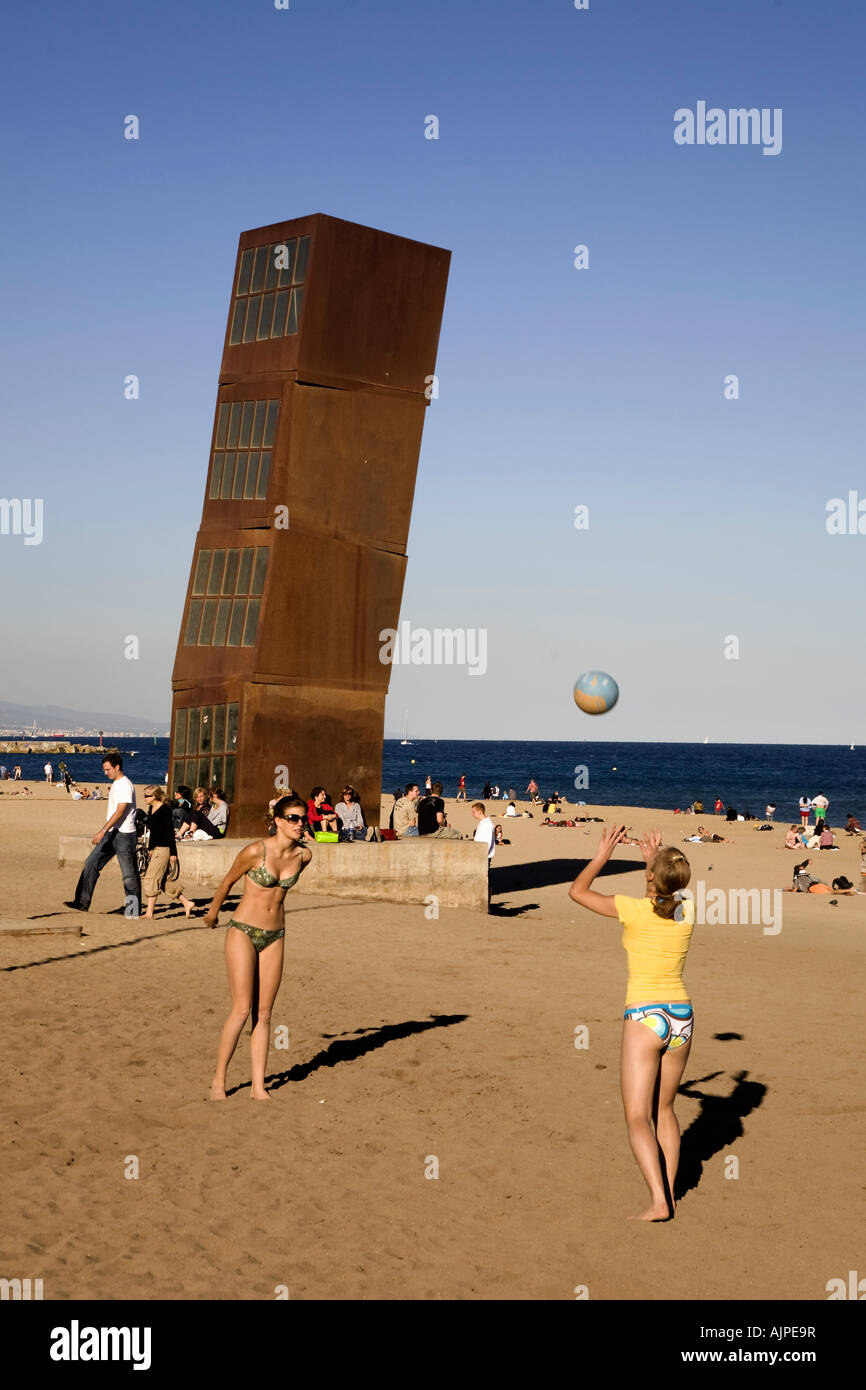 Spain Barcelona Sculpture by Rebecca Horn at Barceloneta beach volleyball Stock Photo
