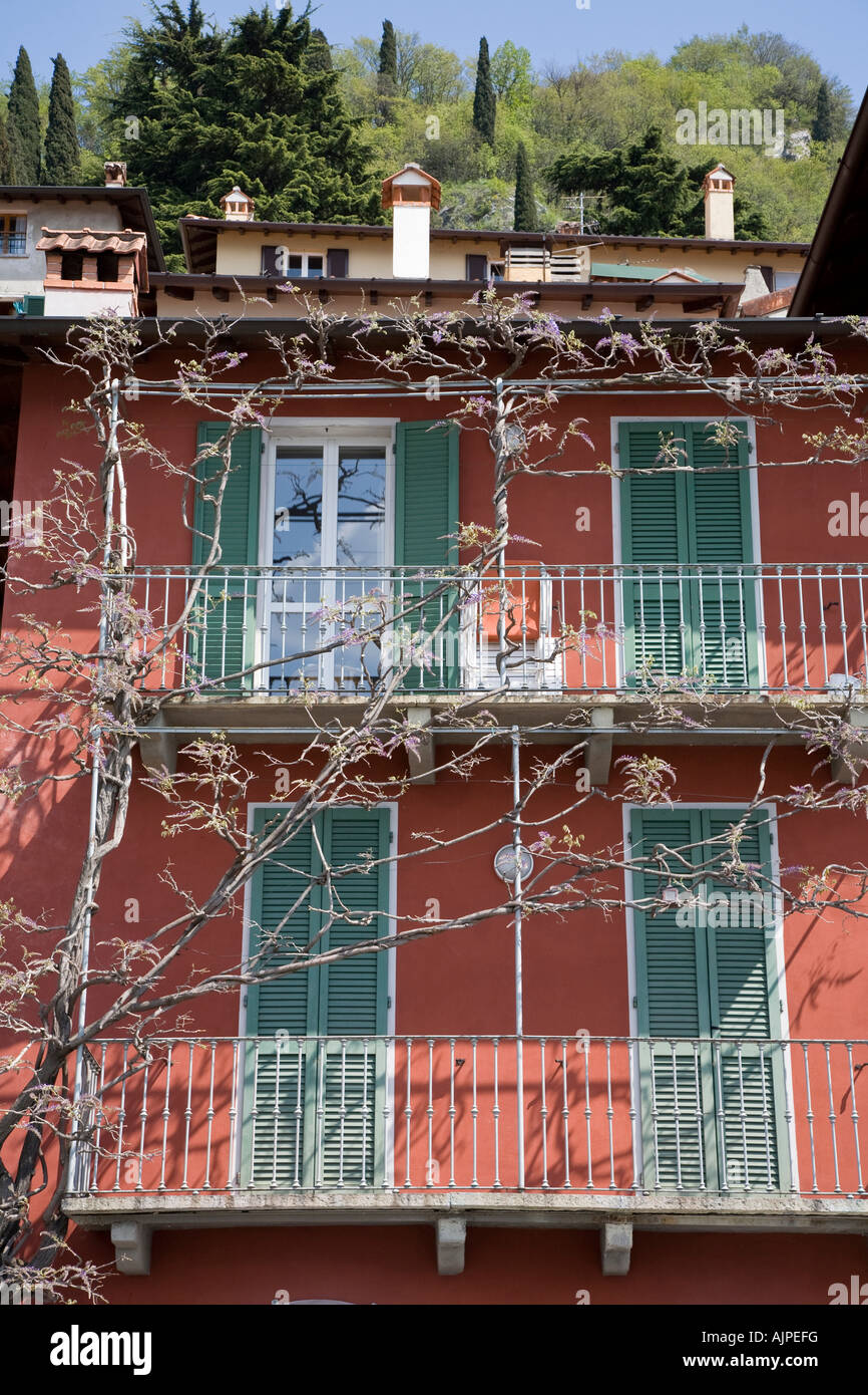 Private balconies overlooking Lake Como at Varenna - Stock Image