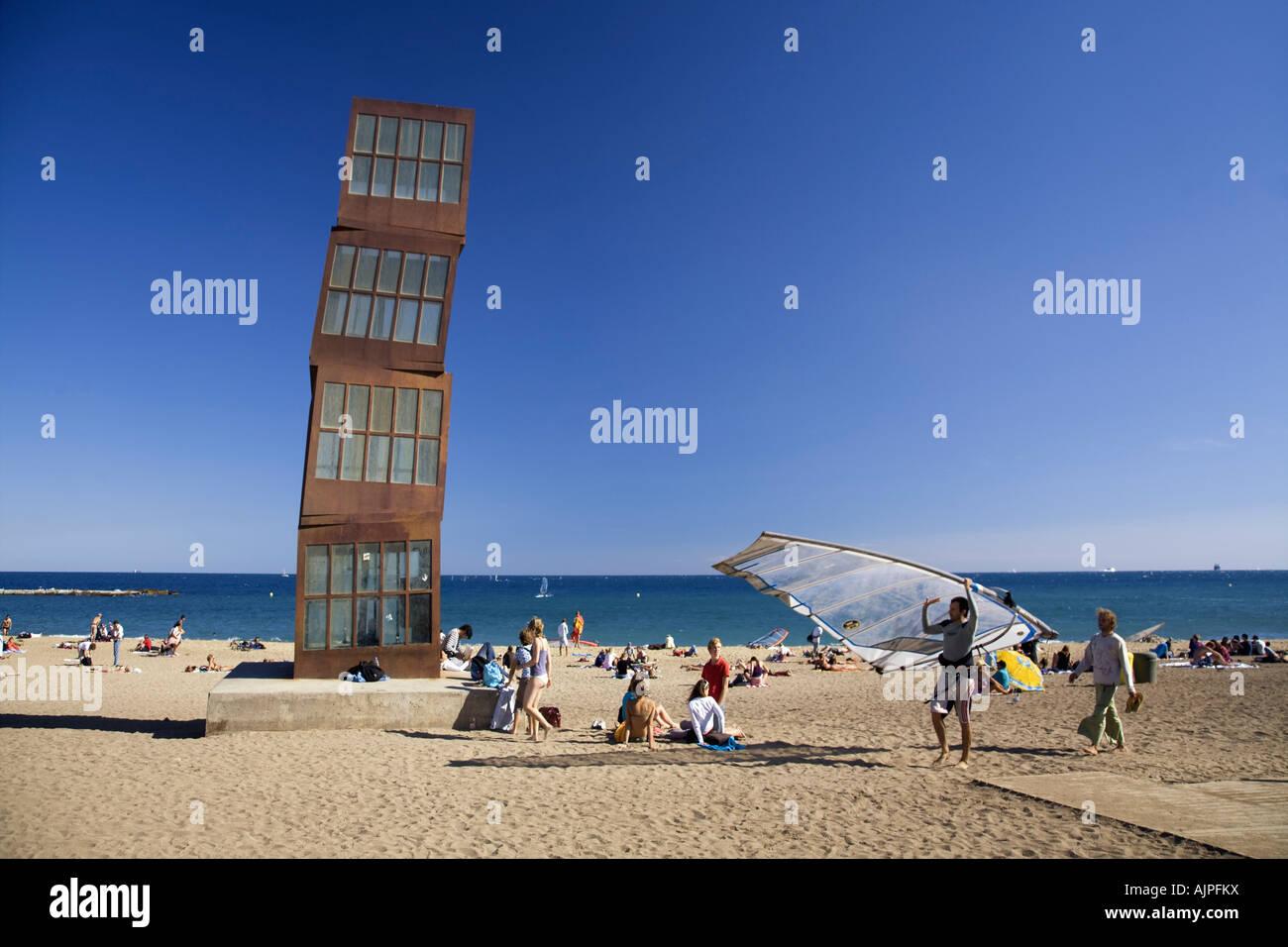Spain Barcelona Sculpture by Rebecca Horn at Barceloneta beach Surfer Stock Photo