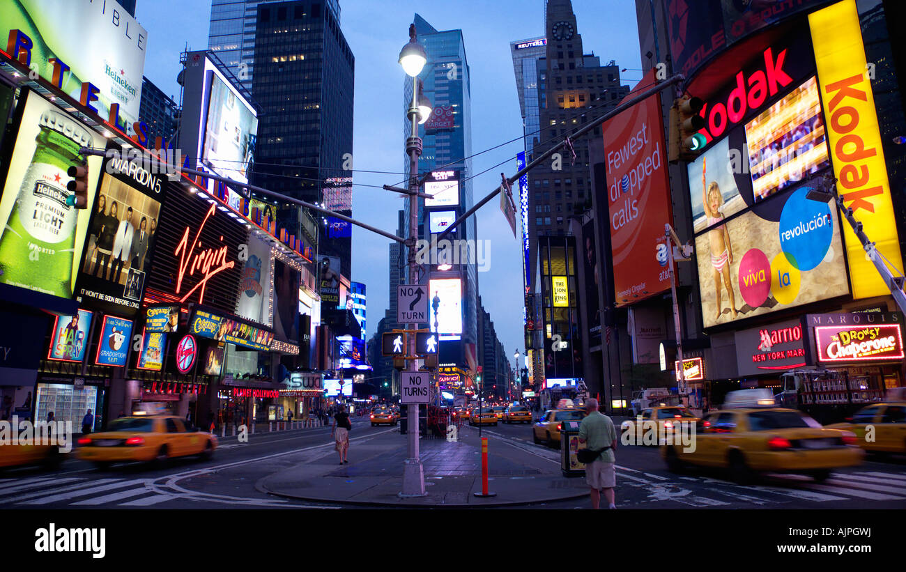 Early morning in Times Square New York City - Stock Image