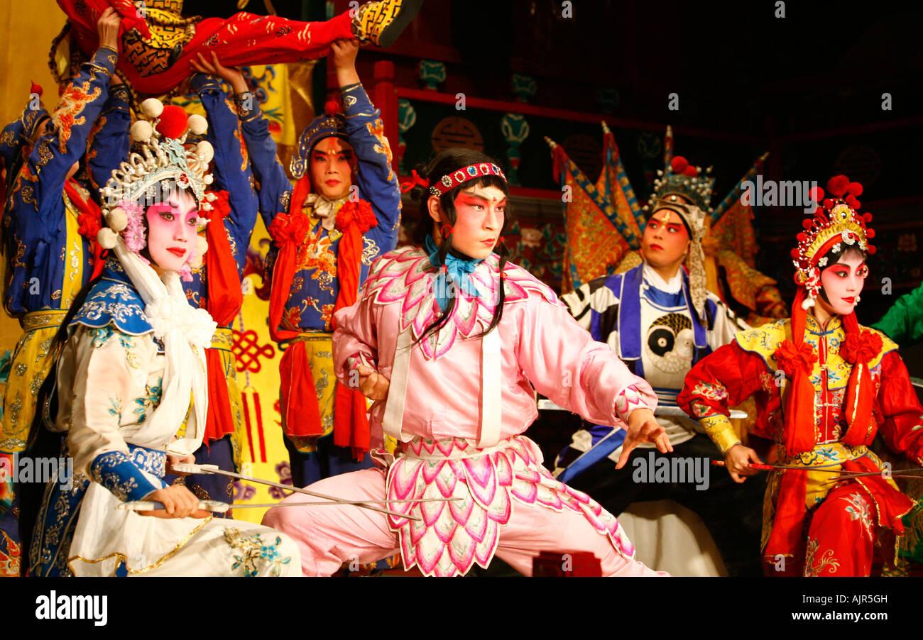 Chinese opera at the Huguang Guild hall Beijing China - Stock Image