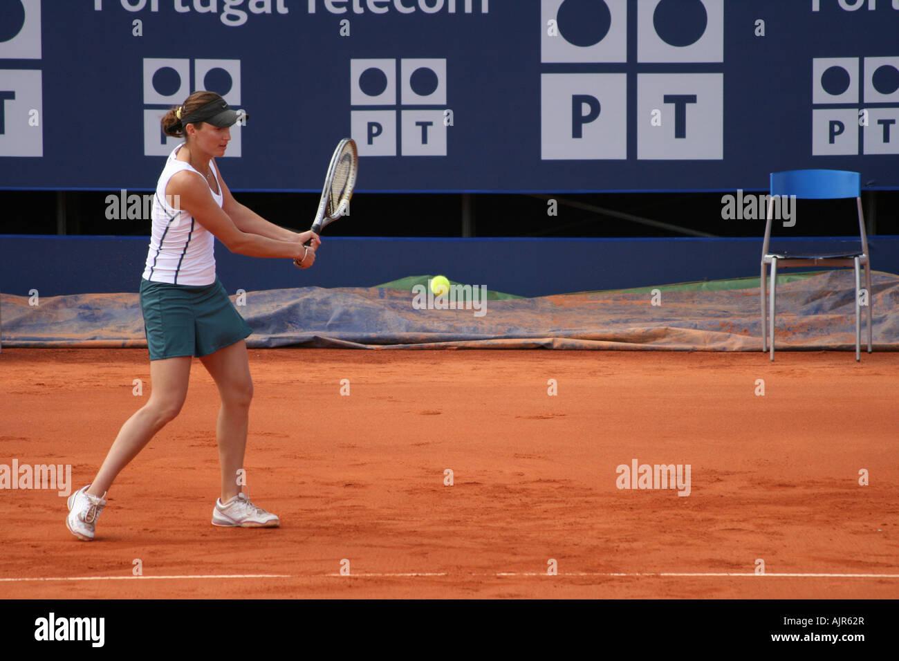 Estoril Open 2007 - Women's 1st round qualifying - Iveta Benesova vs Conchita Martinez Granados - Stock Image