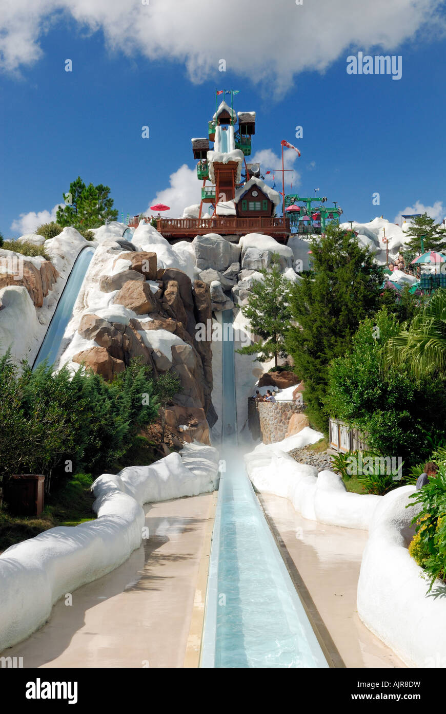A View Of The Water Slides At Blizzard Beach In Orlando Florida Usa