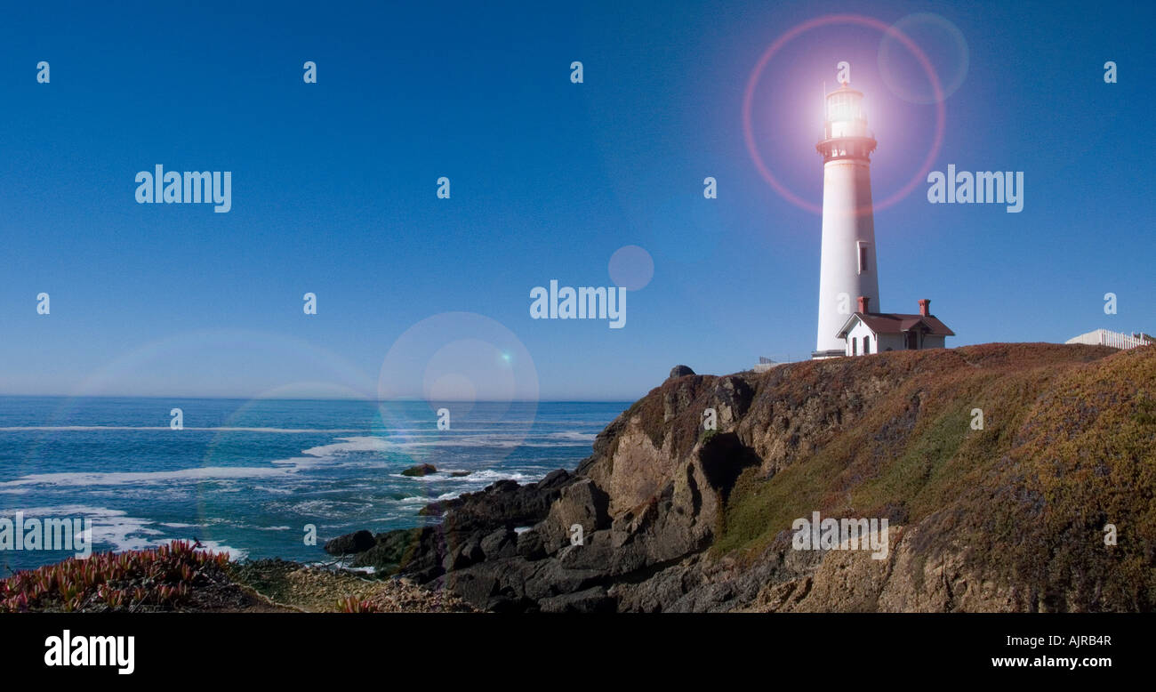Pigeon Point lighthouse highway 1 California USA 2007 - Stock Image