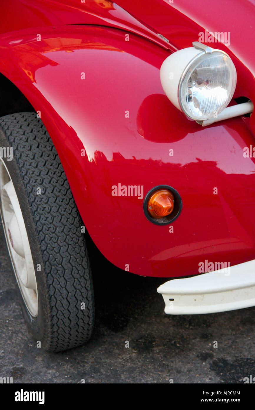 front right wing of a red 2CV car - Stock Image
