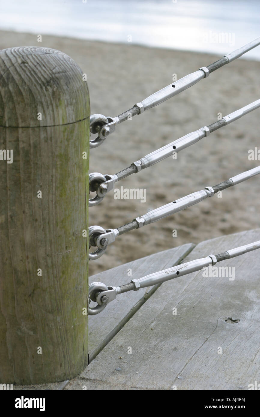 Tension wire fence and wooden post Stock Photo: 14797289 - Alamy