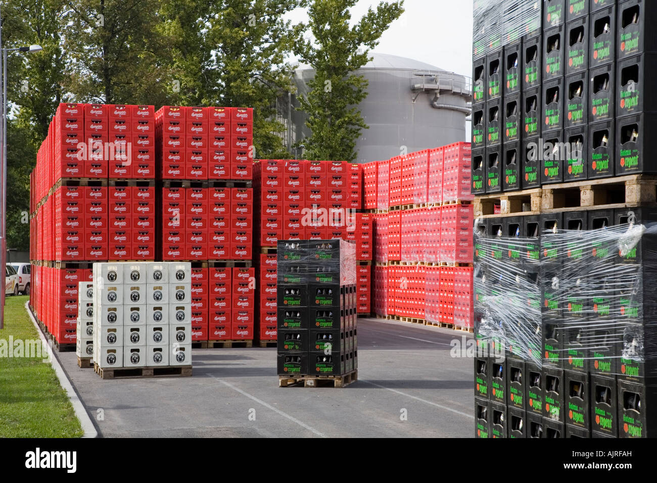 Stacked crates of Budweiser beer at the Budvar brewery Ceske Budejovice Czech Republic - Stock Image