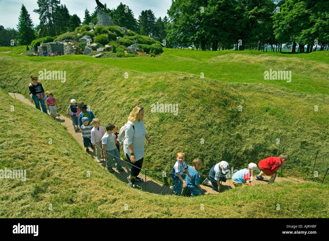 Somme France Schoolchildren experience the First World War trenches at Auchonvillers Memorial Park - Stock Image