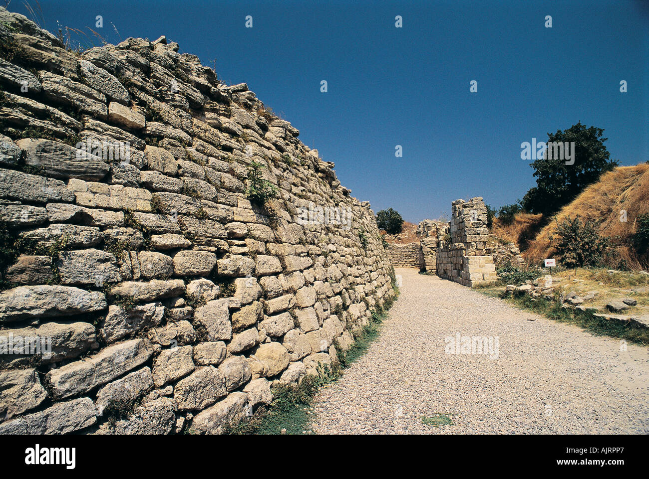 Famous ancient walls of Troy fortress, Çanakkale Turkey. - Stock Image