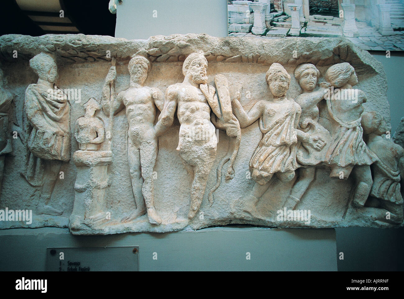 Statues and reliefs in Ephesus ancient city, Turkey. - Stock Image