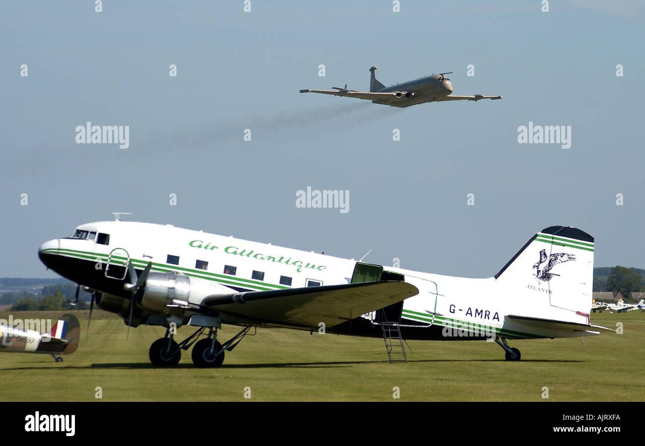 Douglas Dakota DC3 and Nimrod display at Duxford - Stock Image