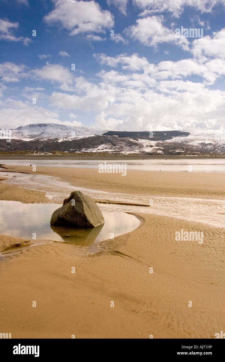 A rock in a pool at Barmouth beach, Gwynedd, Wales Stock Photo