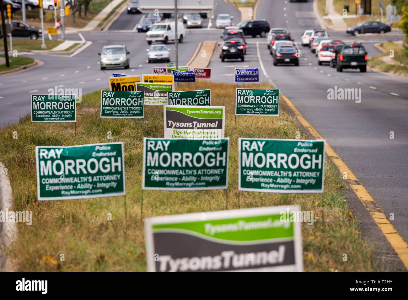 Posters on Leesburg Pike for local elections in Tysons Corner Fairfax County, Virginia near Washington DC - Stock Image