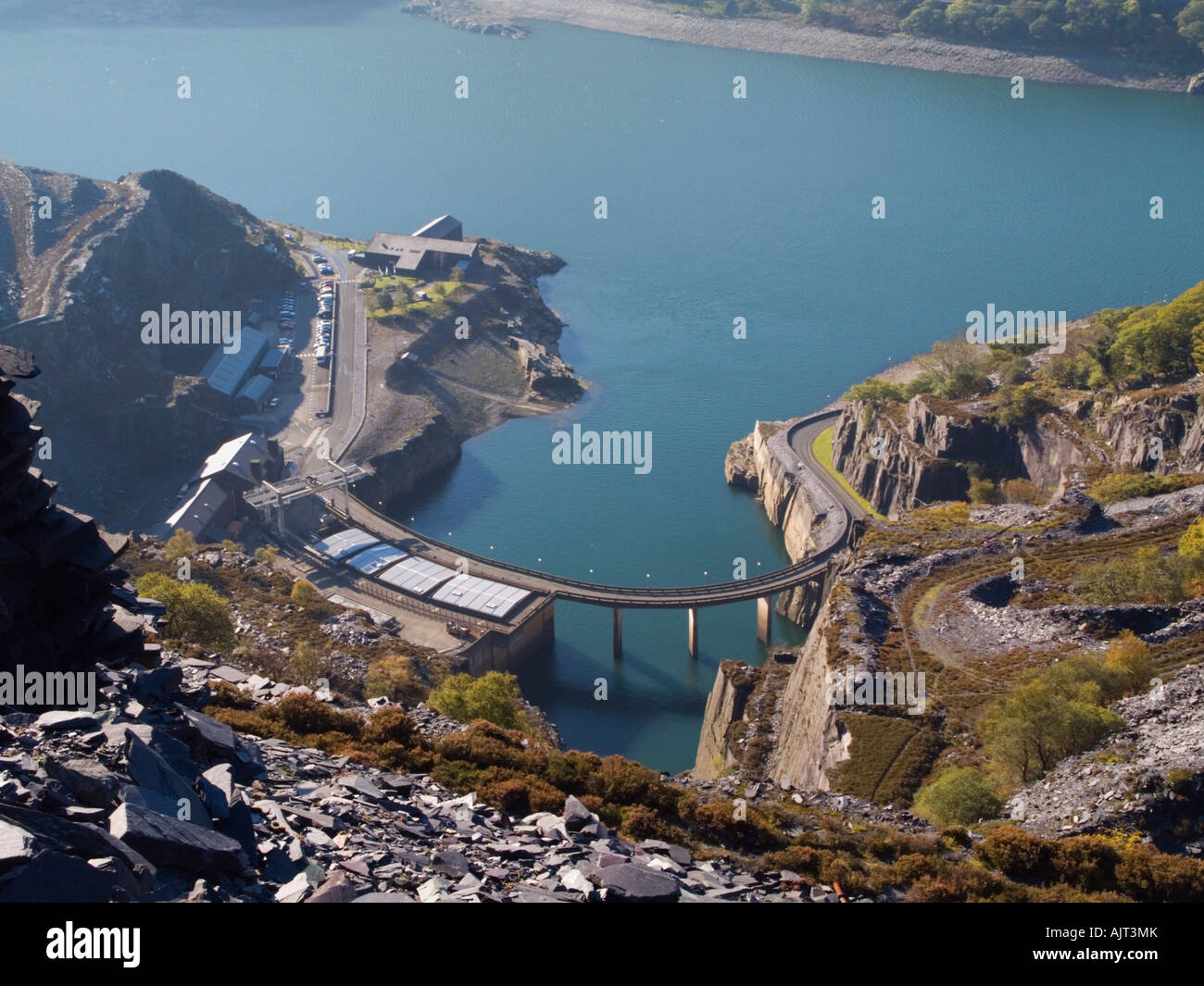 Aerial view Dinorwig Hydro-electric Power Station and Llyn Peris reservoir from disused slate quarry on Elidir Fawr - Stock Image