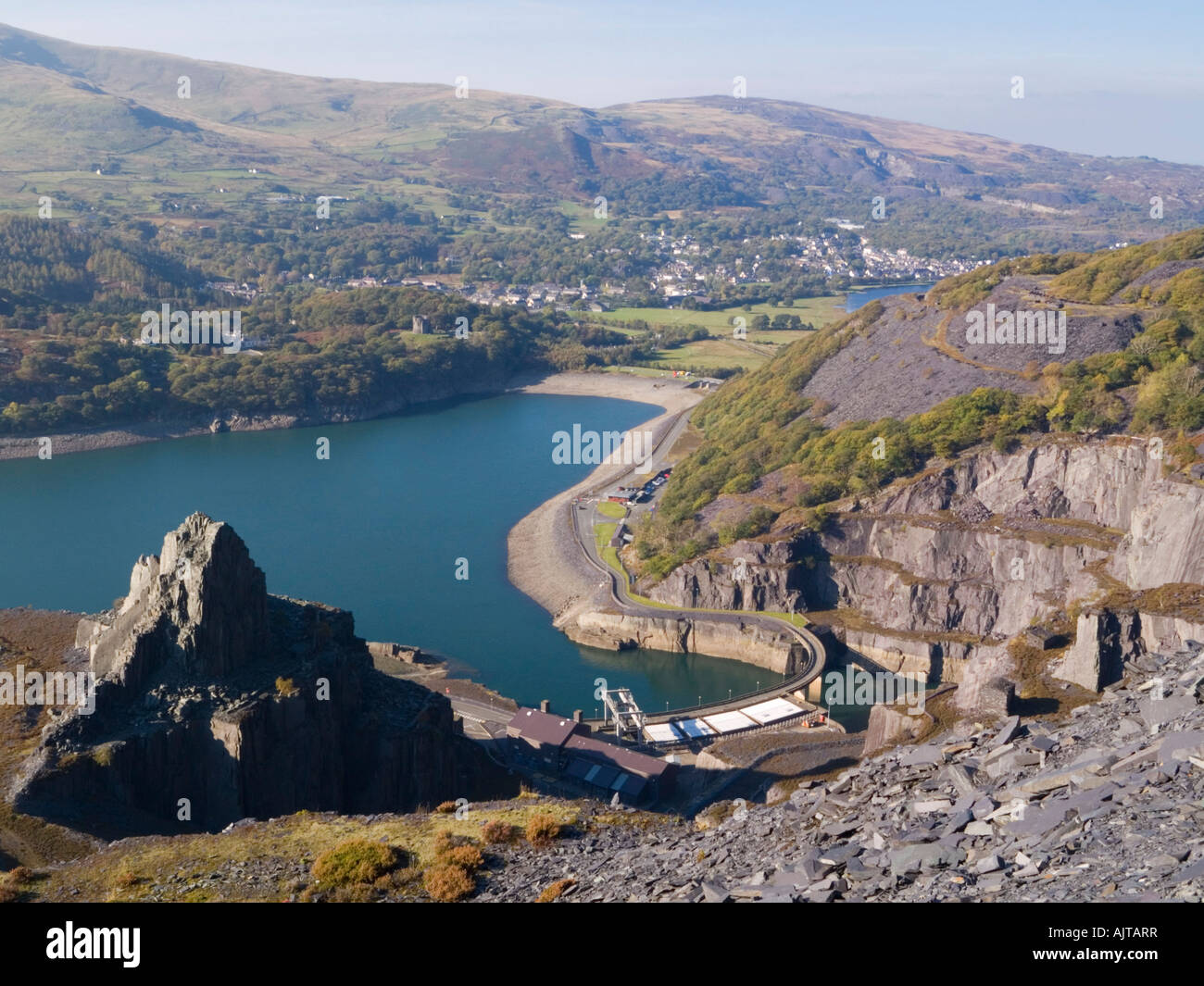 Aerial view Dinorwig Hydro electric Power Station and Llyn Peris reservoir from disused Dinorwic slate quarry on - Stock Image