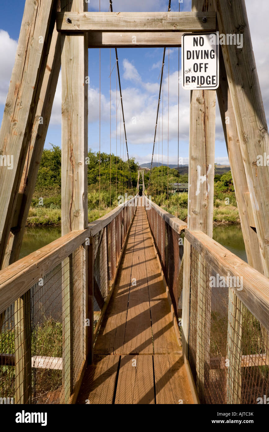 Swinging Bridge Hanapepe Kauai Hawaii Stock Photo