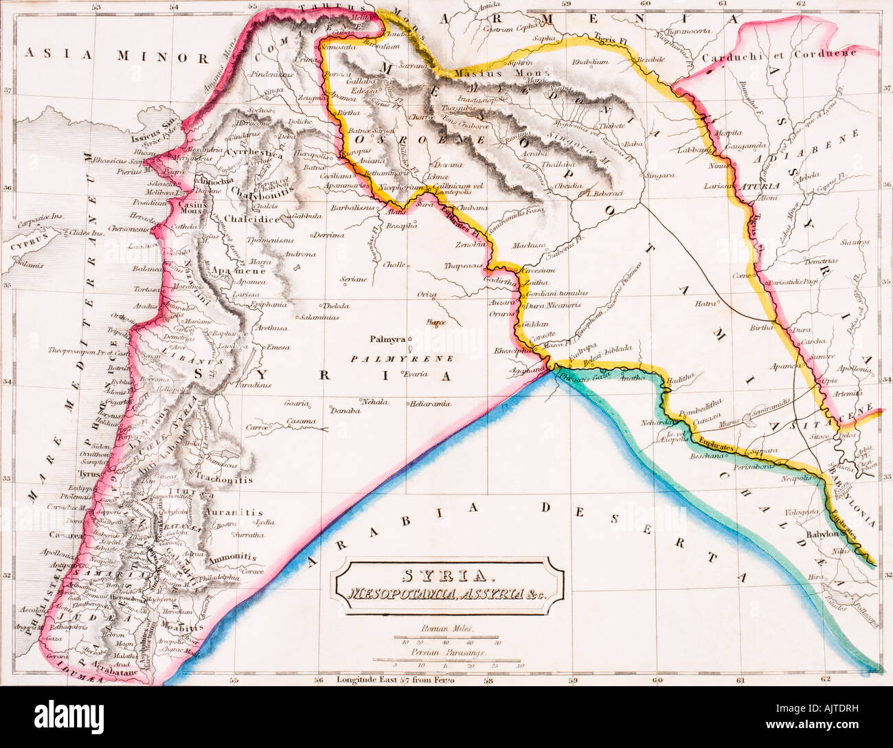 Map of Syria Mesopotamia Assyria From The Atlas of Ancient Geography by Samuel Butler published circa 1829 - Stock Image
