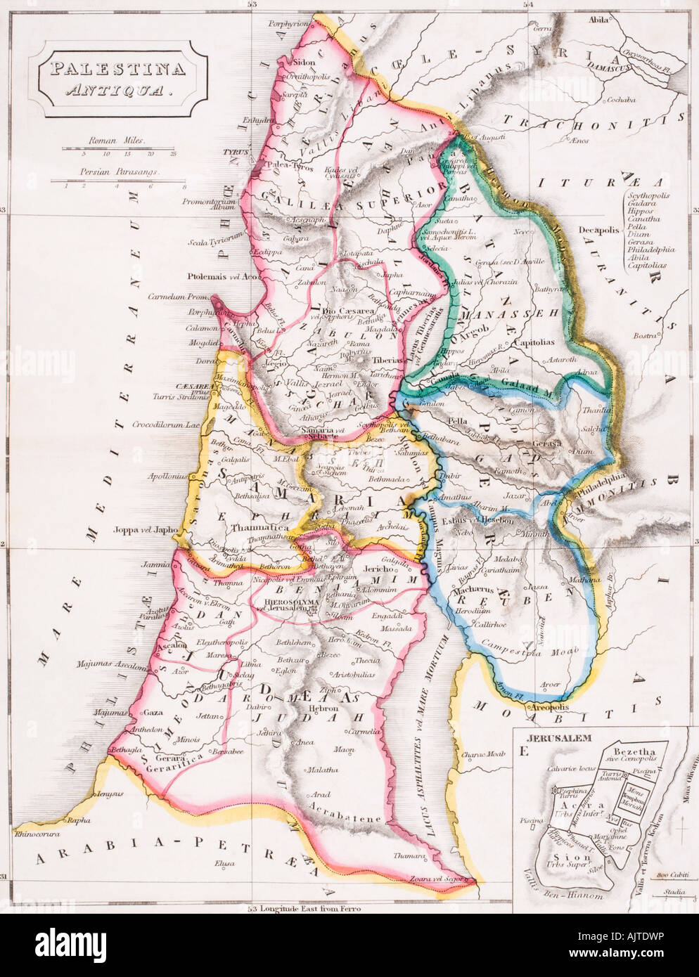 Map of Palestine Palestina Antiqua - Stock Image