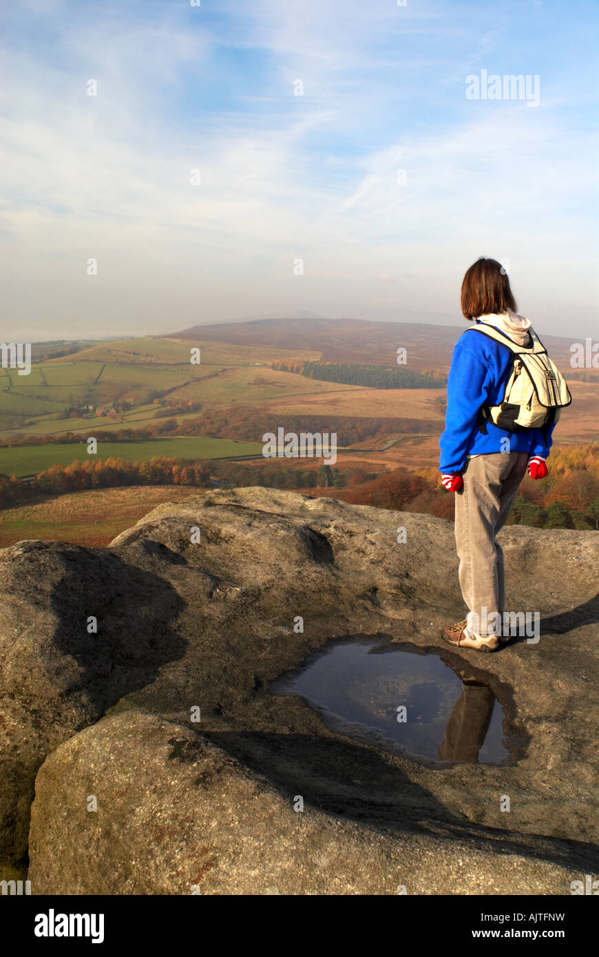 Female walker stood on 'Stanage Edge' in Derbyshire 'Great Britain' - Stock Image