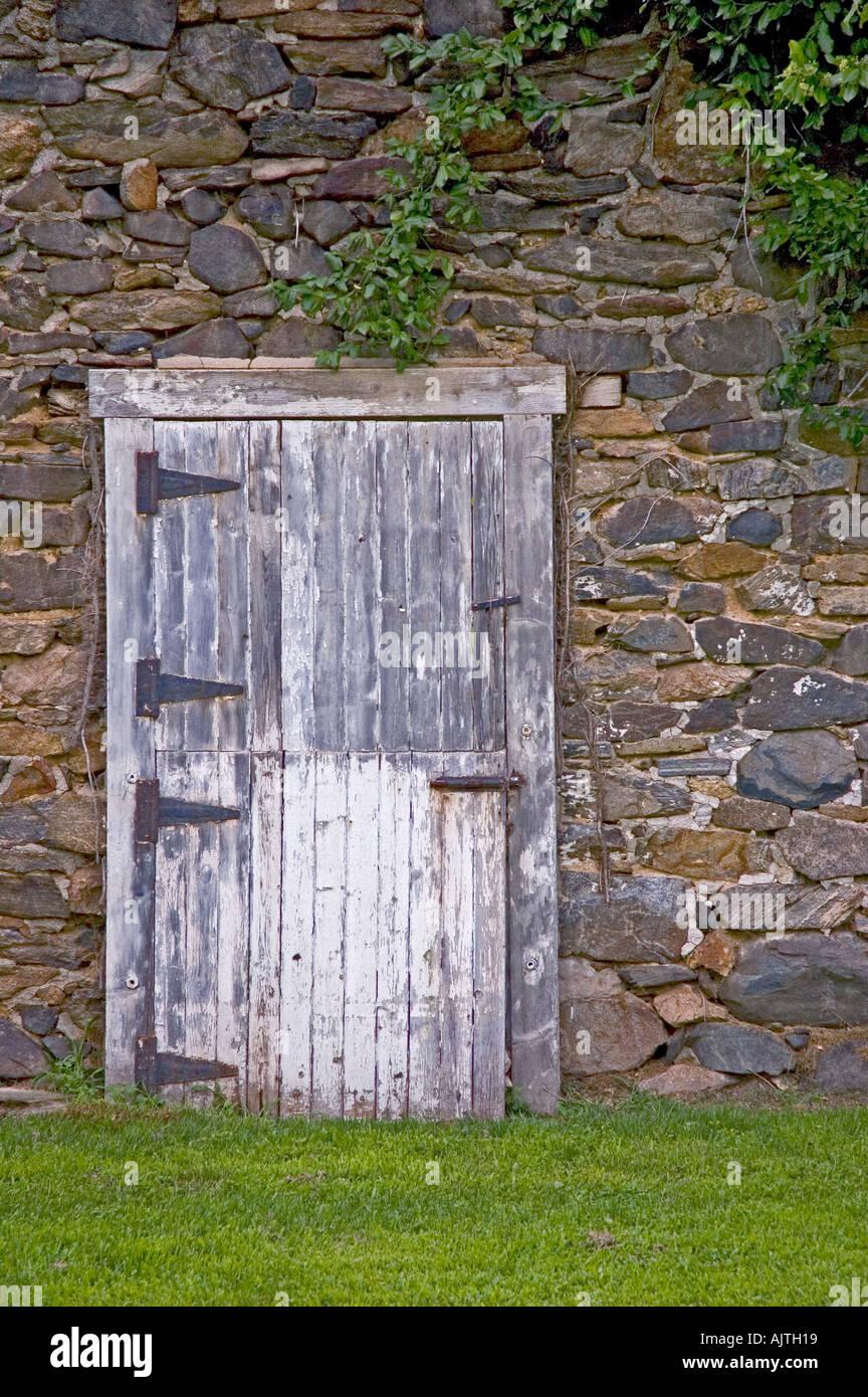 Old barn door set against stones in Delaware Count PA Rusted hinges peeling white paint vines above & Old barn door set against stones in Delaware Count PA Rusted hinges ...