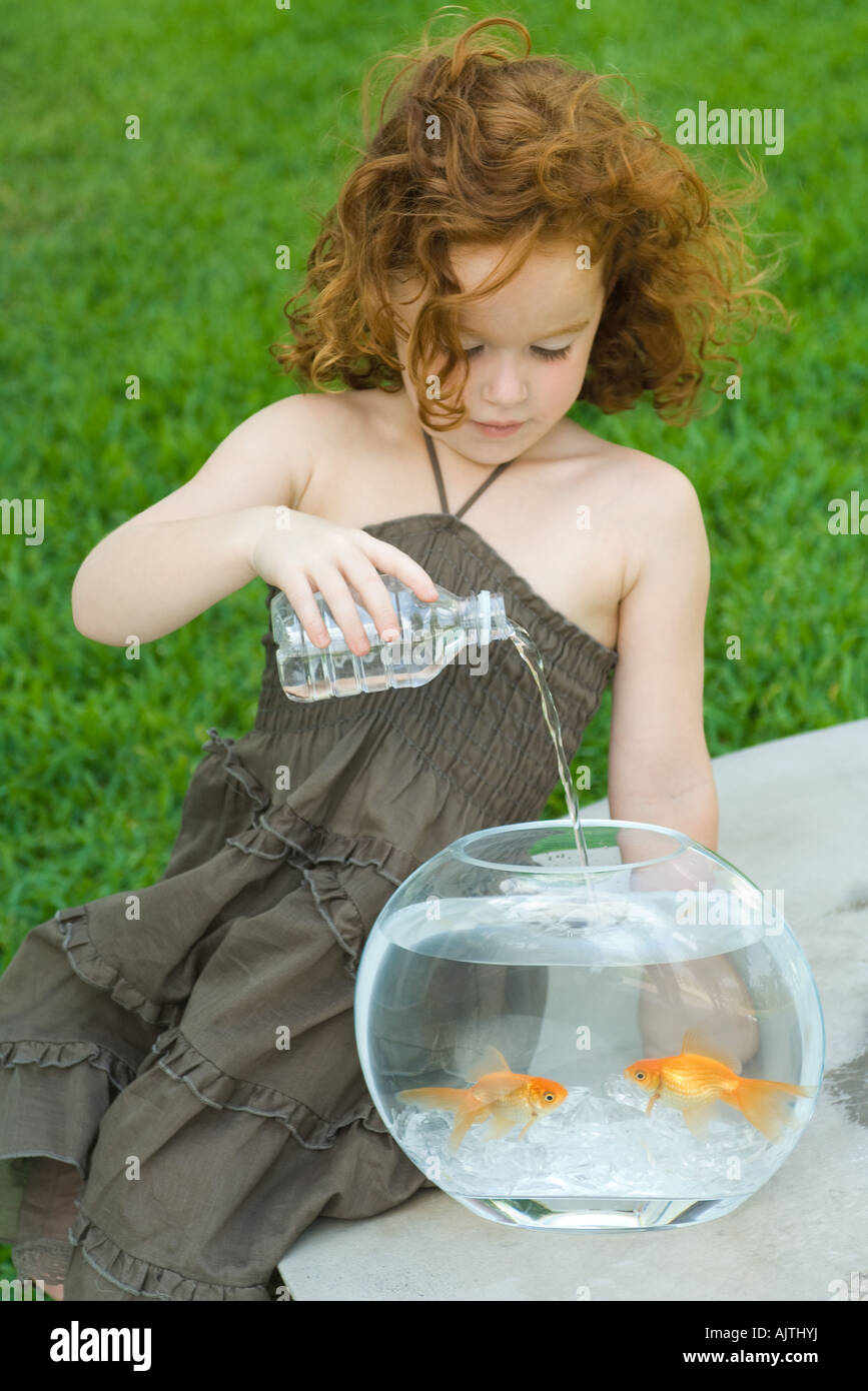 Redheaded little girl pouring bottled water into goldfish bowl Stock Photo