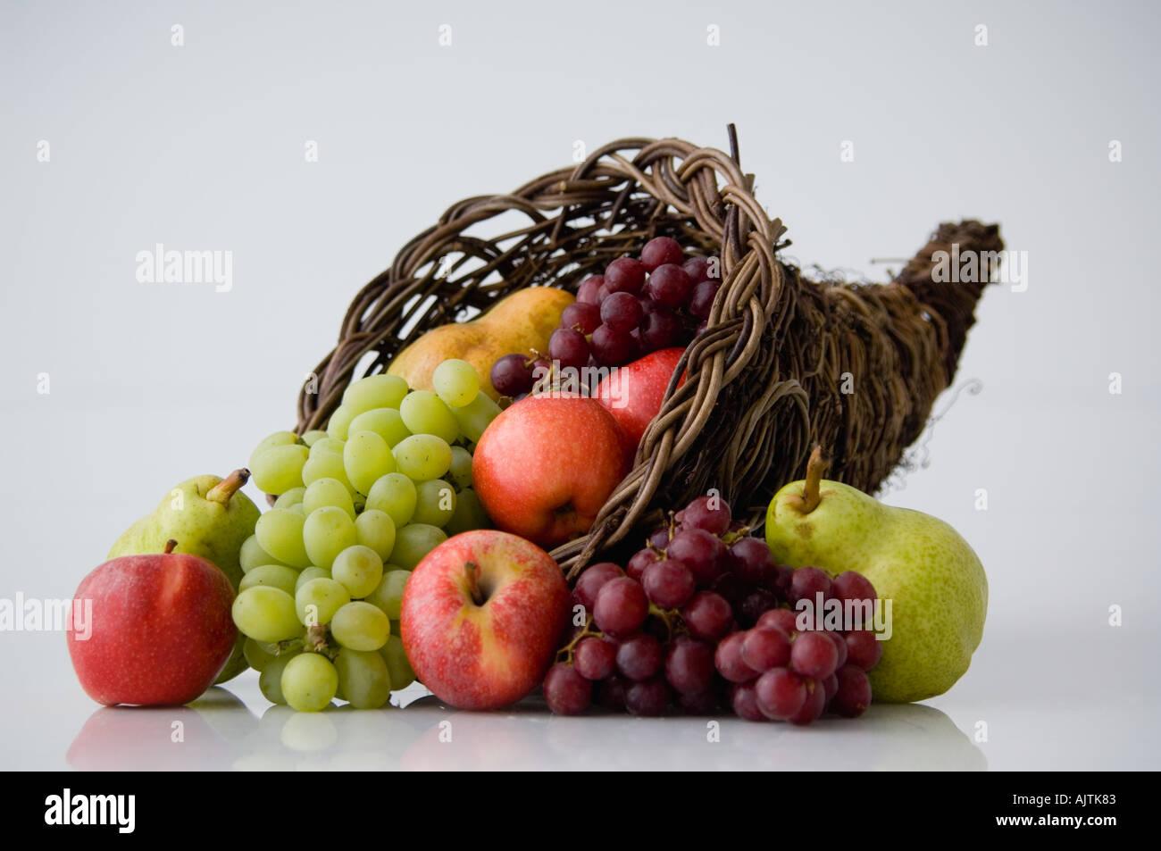 Cornucopia of fruit - Stock Image
