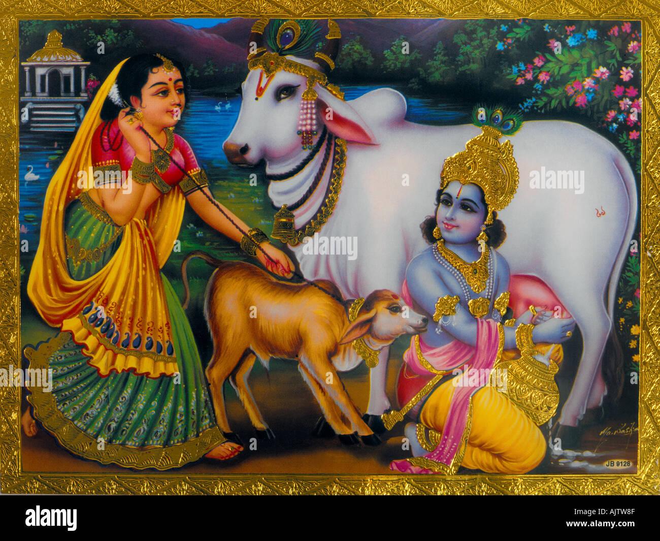 Krishna Radha Cow Herd - Stock Image