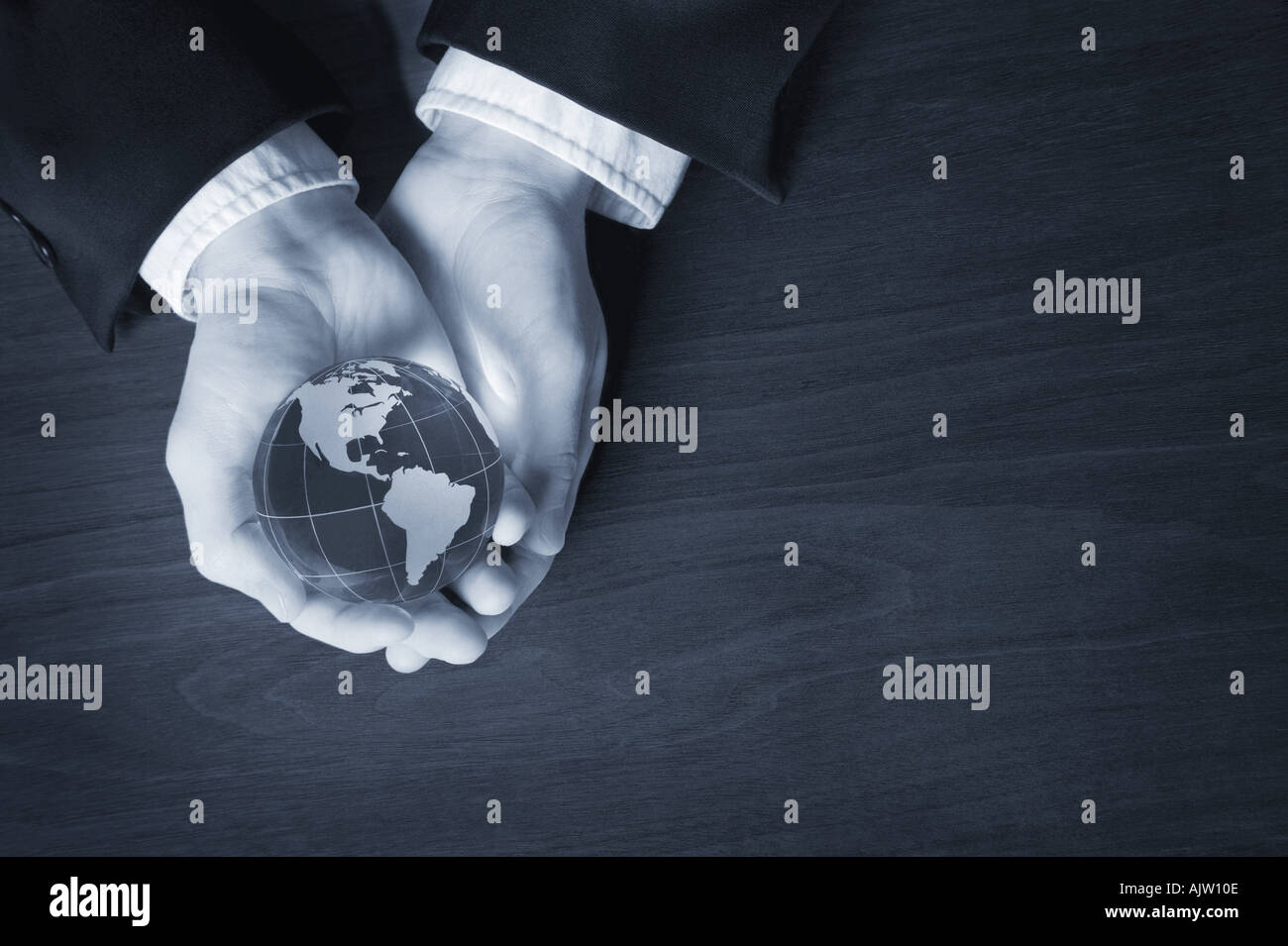 World in his hands - Stock Image