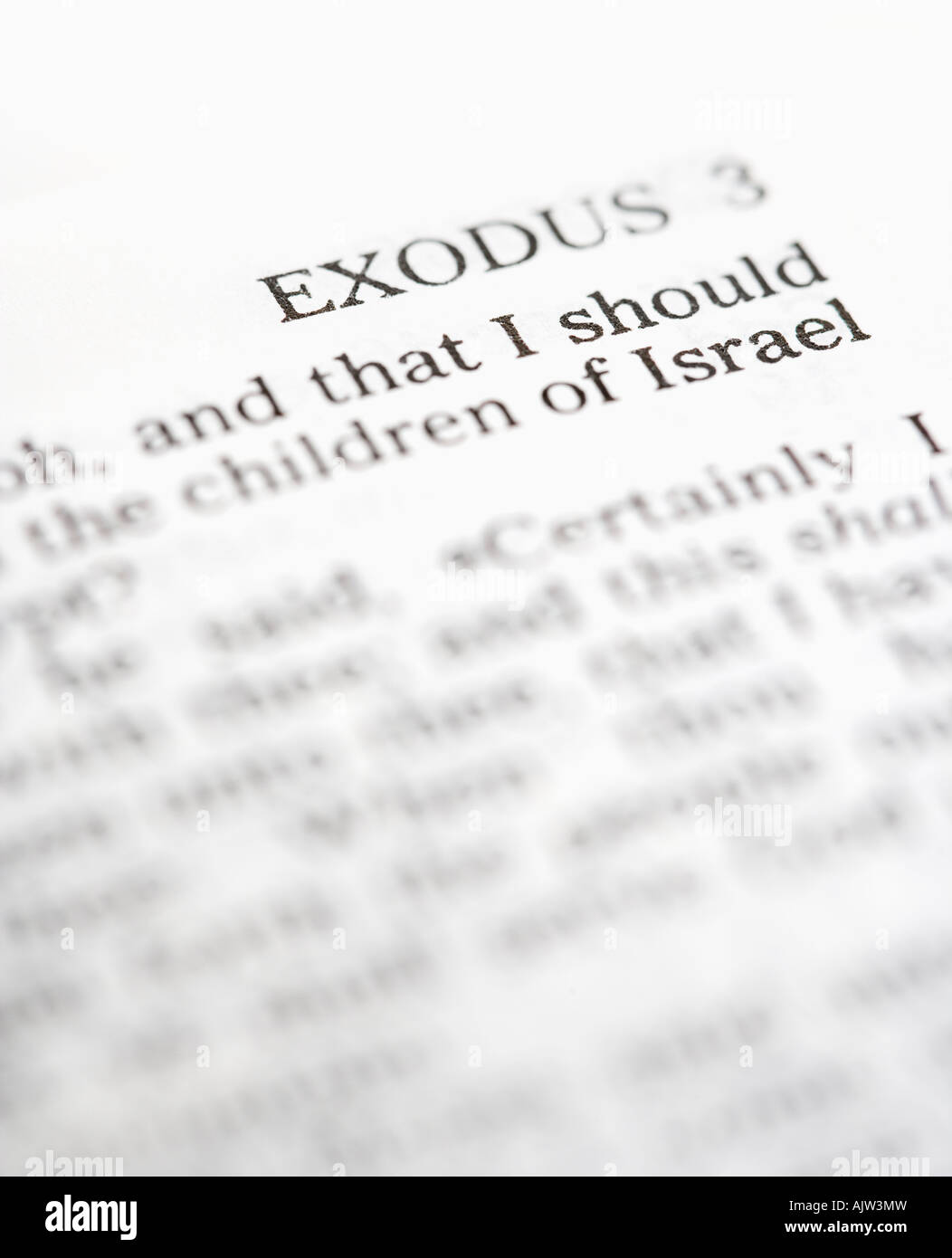 Selective focus of Exodus verses in open Holy Bible - Stock Image