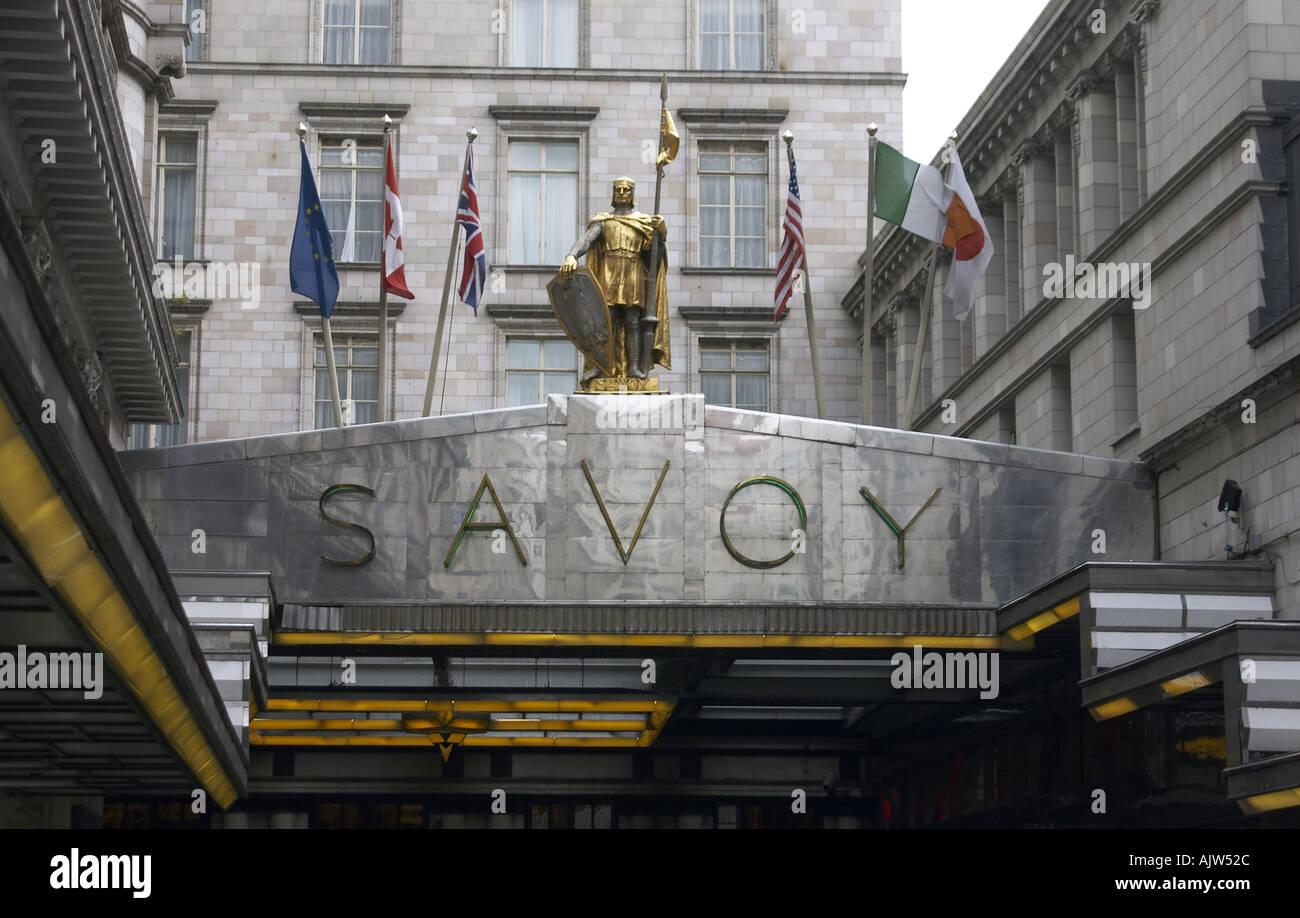 Savoy Hotel entrance London WC2 England 2004 - Stock Image