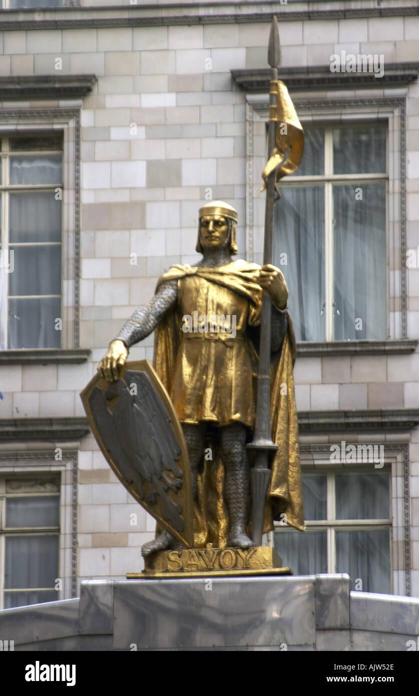 Savoy Hotel entrance statue figure London WC2 England 2004  - Stock Image