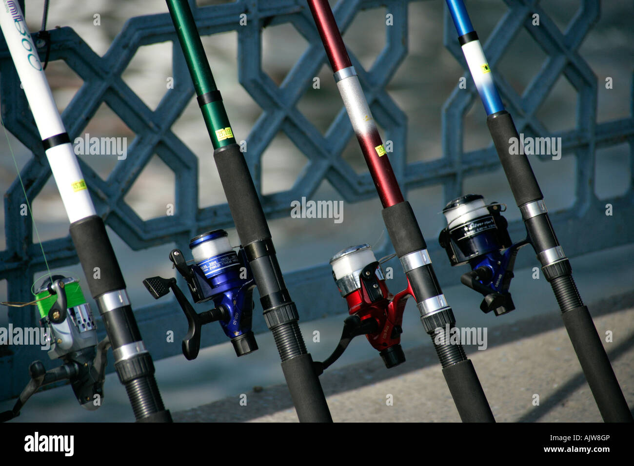 Fishing rods for sale on the Galata Bridge, Istanbul, Turkey Stock ...