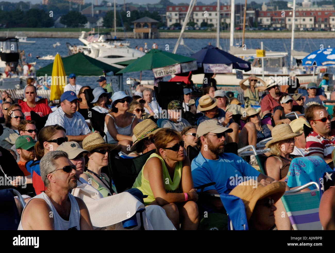 Audience watching musical  performance, Newport Folk Festival - Stock Image