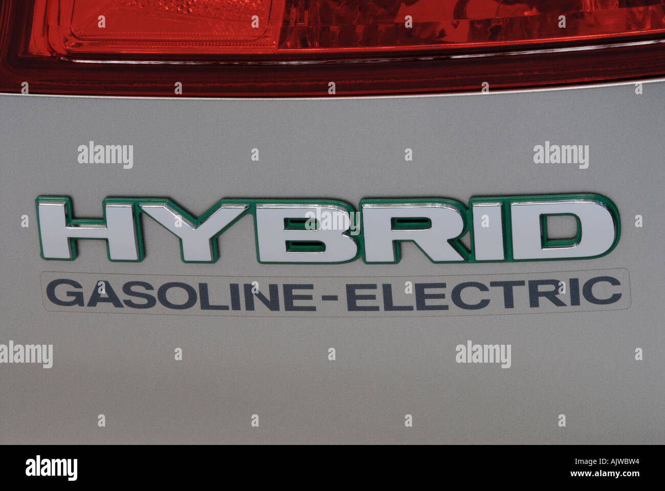 Gasoline-electric hybrid car logo - Stock Image