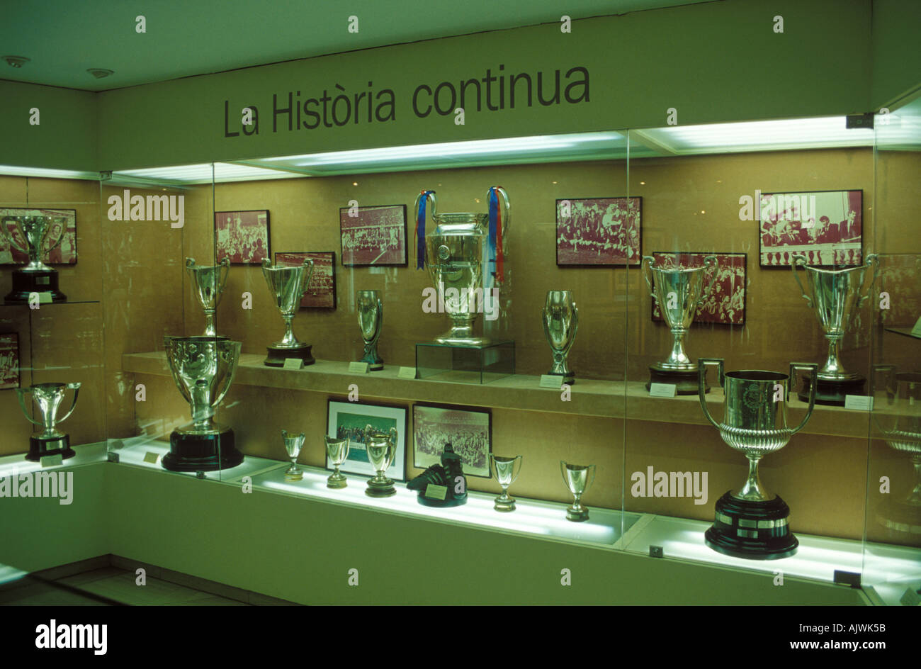 The Barcelona FC trophy room at the Nou Camp Stadium - Stock Image