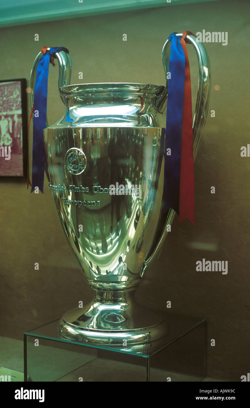 The European Cup won by Barcelona in 1992, on display in the Nou Camp Stadium trophy room. - Stock Image