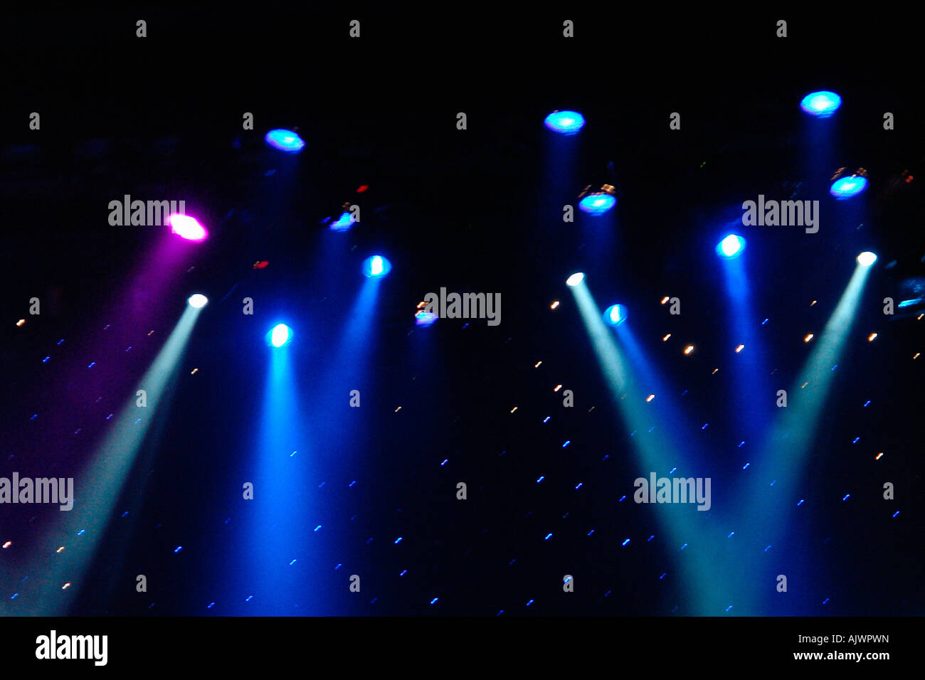 Colorful Stage Lights at a Theater with Copy Space - Stock Image