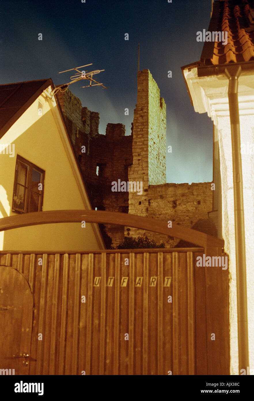 the street door is locked in the evening  - Stock Image