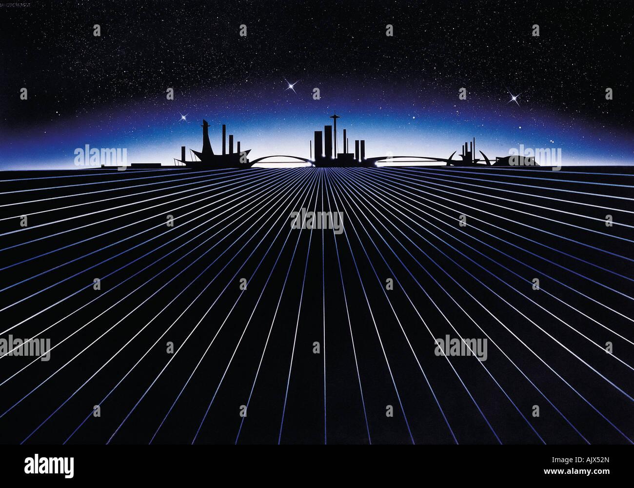Artwork illustration of futuristic city, - Stock Image