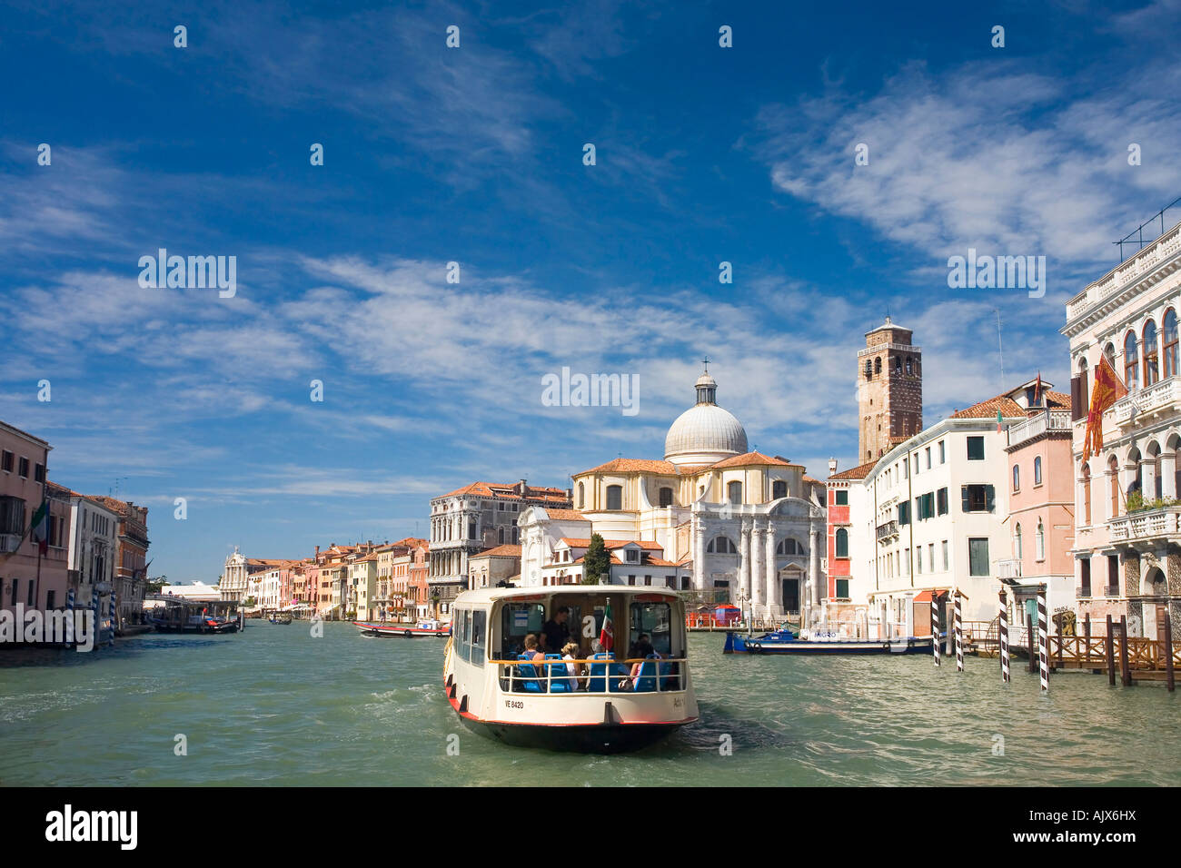 Vaparetto travels up the Grand Canal toward San Geremia Church Cannaregio district summer Venice Italy Europe - Stock Image