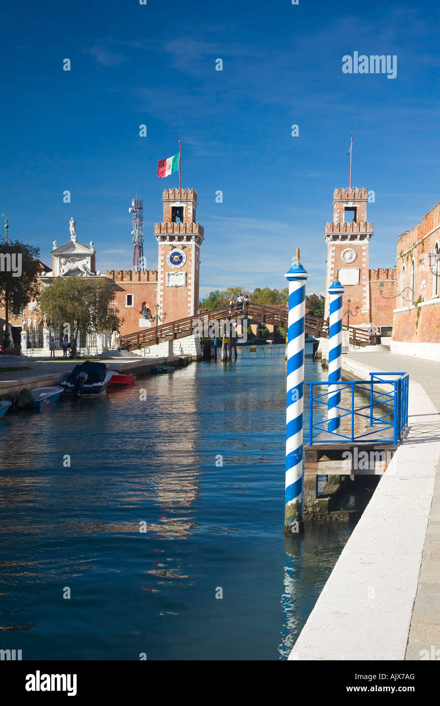 Arsenale main entrance to naval dockyard in summer sun with blue sky Castello district Venice Veneto Italy Europe - Stock Image