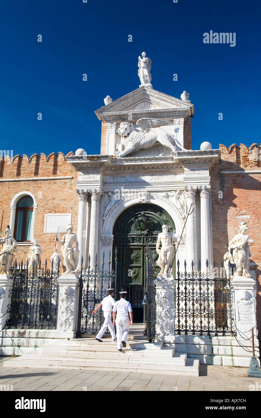 Arsenale main entrance to naval dockyard Castello district Venice Veneto Italy Europe EU - Stock Image
