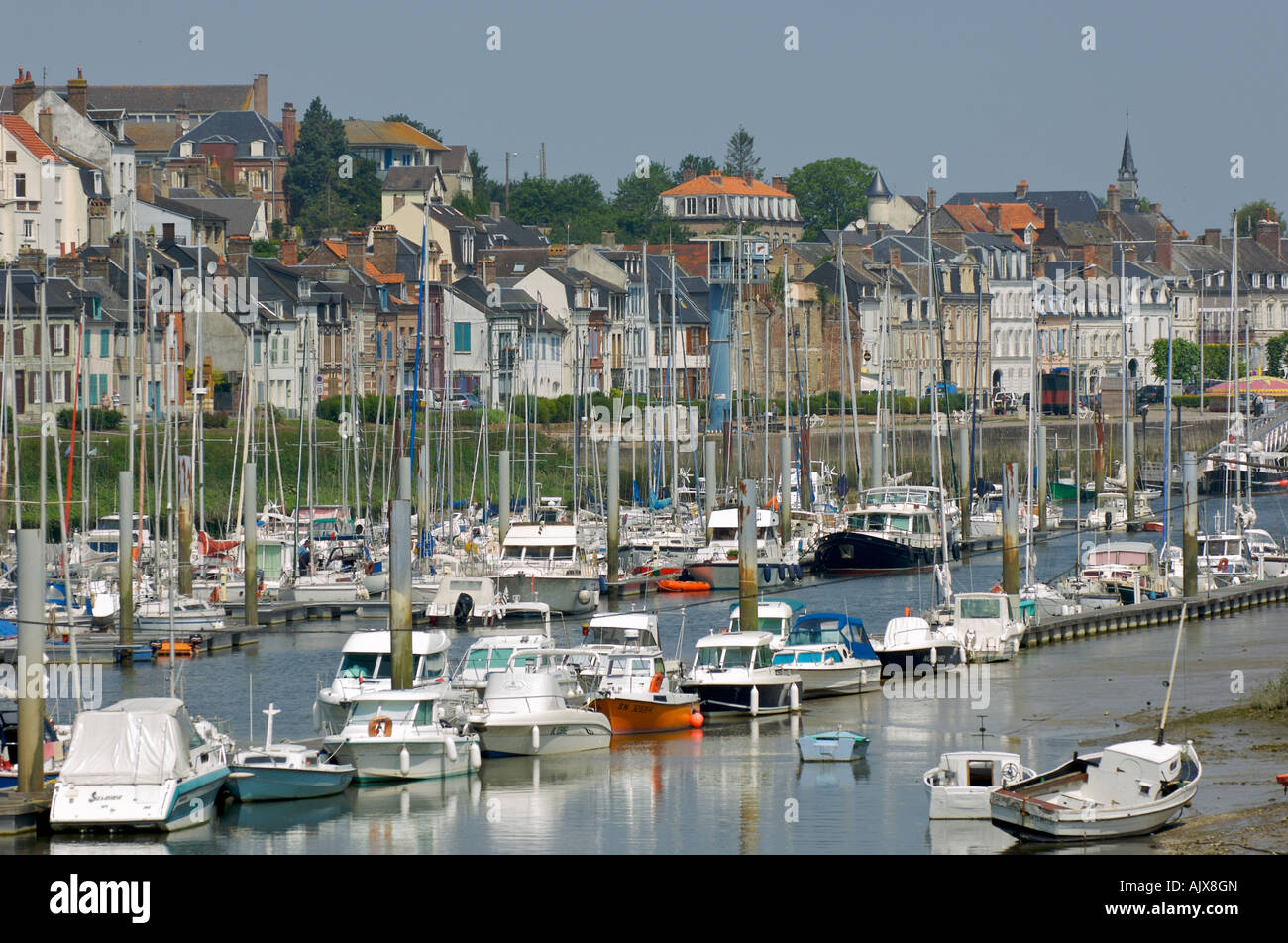 Boats at Saint-Valery-sur-Somme, Picardy, France Stock Photo